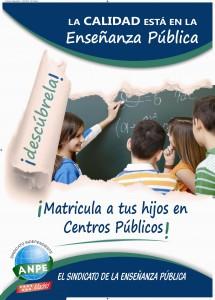 Cartel de la campaña de matriculación de ANPE-Madrid. (fuente.www.anpe-madrid.com)